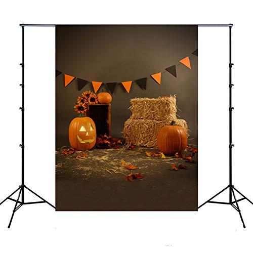 Fotografie Hintergrund Halloween,XGZ Backdrops Kürbis Vinyl Fotografie Studio Halloween Kürbis Laterne Halloween Kulissen (Mehrfarbig F)