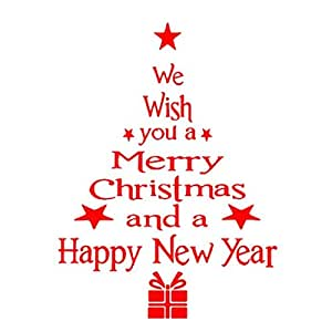 Malloom® Stickers Murali Frasi Natale PVC Vetrofanie Display Rimovibile Adesivi Murali Finestra Decorazione Vetrina Wallpaper