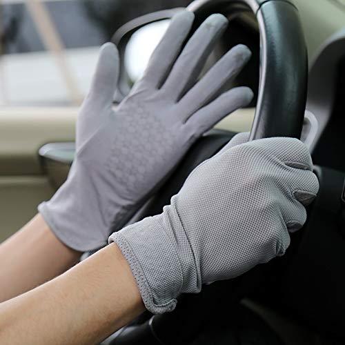Ausgezeichneter Handschuh UV-Schutz Sonnenschutzhandschuhe UPF50 + Rutschfeste, atmungsaktive Sonnenschutzhandschuhe aus Baumwolle Einfach an- und auszuziehen (Color : Gray, Size : One size)