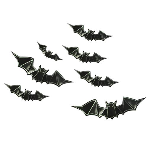 HEALIFTY 8 Stücke 3D PVC Fledermaus Wandtattoos Glow in The Dark Bat Leuchtende Tapete Fenster Aufkleber für Halloween Party Dekoration
