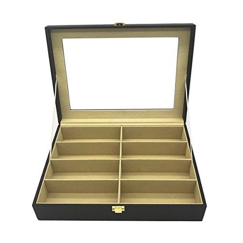 Krokodil-Kunstleder Box Unionplus 8Einschübe für Sonnenbrillen oder Brillen, Display Aufbewahrung, Organizer Sammelbox coffee