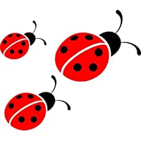 3 Ladybirds Printed Vinyl Stickers decal,car,window,van