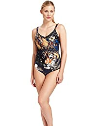 c7f20d77f5 Feraud 3185040-11813 Women's Hazel Eyes Black and Blue Floral Costume One  Piece Swimsuit