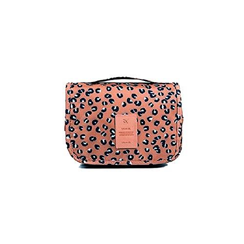 Hemuu Reise Make up Bag Kulturtaschen Faltbare Kosmetiktasche wasserdichte Handtasche mit Aufhängehaken Make-up Tasche Reisegepäck Toiletry Bags mit Griff für Frauen (Leopardbraun) -