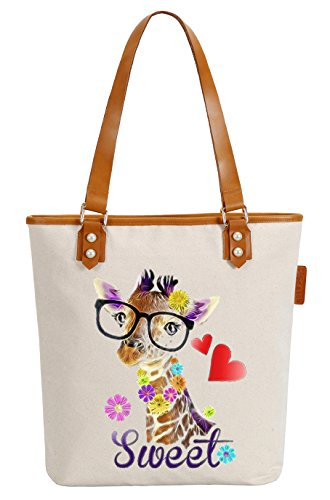 So'each Women's Sweet Giraffe Love Canvas Tote Pearly Top Handle Shoulder Bag (Tote Handle Bag)