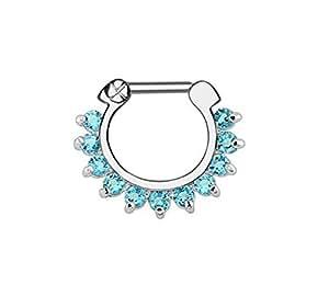 Gekko Body Jewellery Anneau pour nez, septum ou daith avec zircone cubique Blau clair 1,2 mm