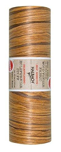 Stoff Holzoptik Eiche Selbstklebend 125x20cm Material 100% Baumwolle und Holz Nähen basteln Dekostoff Holzmuster auf Rolle