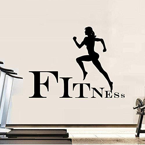 Gym Fitness Zeichen Vinyl Wandtattoos Sport Frauen Wandaufkleber Übung Motivation Removable Murals Laufen Sport Poster Dekoration 57X42 Cm