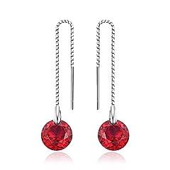 Idea Regalo - JewelryPalace Donna Gioiello Classico 5.6ct Rotonda Creato Rosso Rubino Linea di Orecchio Argento Sterling 925