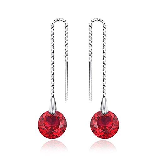 JewelryPalace Donna Gioiello Classico 5.6ct Rotonda Creato Rosso Rubino Linea di Orecchio Argento Sterling 925