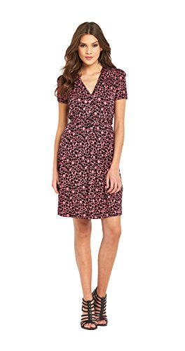 french-connection-button-front-dress-in-black-berry-size-8