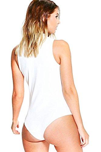 Crème Femme Maria Choker Cut Out Bodysuit Crème