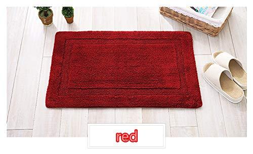 Morbuy Fußmatte Innenbereich und Aussenbereich, 50x80cm Chenille-Baumwollbodenmatte Fussabstreifer Flur Teppich Wohnzimmer Rutschfest und Waschbar Praktische Fußabtreter (50 * 80cm, Rot)