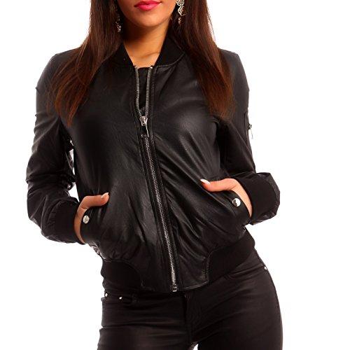 Damen Jacke Bomberjacke Jacket Flieger Jacke Kunstleder, Farbe:Schwarz;Größe:36