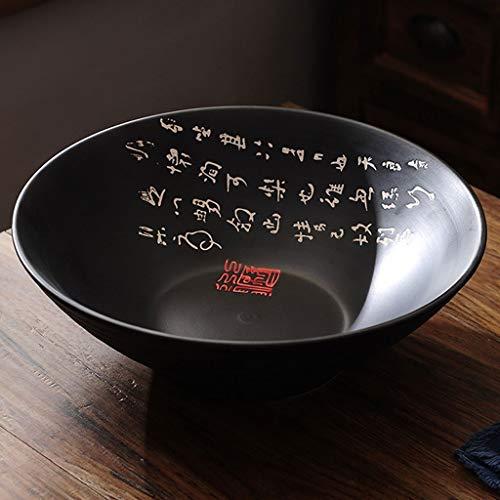 MPFDⓇ Chinesischen Stil Keramik große Suppenschüssel 12 Zoll schwarz Ramen Schüssel Retro Restaurant Geschirr Instant Nudeln Schüssel (Chinesische Dessertteller)