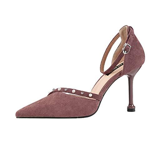 Wrf fibbia ad ardesia sottile a punta con tacco a punta perlata con sandali a spillo (colore : viola, dimensioni : 38 2/3 eu)
