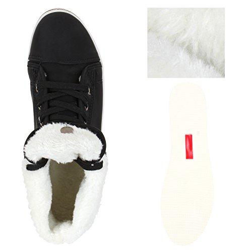 Warm Gefütterte Damen Sneakers Low Schnallen Zierknöpfe Schuhe Schwarz