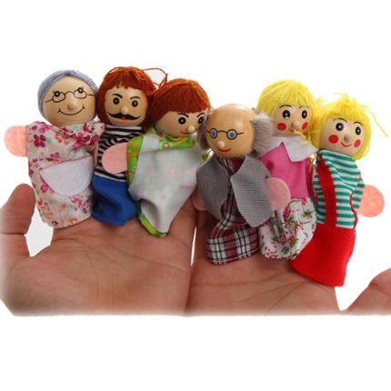 ShopNGift 6 Pcs King Queen Family Finger Puppets Wooden Head Doll Baby Kids Story Telling Educational Toys