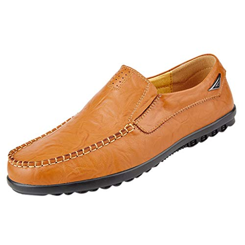 Makefortune- Loafers Flats Herren Slip on Mokassin Handmade Leather Fashion Slipper Atmungsaktive Fahrschuhe Freizeitschuhe Big Size