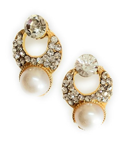 Pearl and Diamond Beaded Gold Trendy Stylish Fancy Party Wear Earrings for Girls, Women And Ladies By Dipa Collection  available at amazon for Rs.160