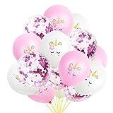 15pcs Ballons Mariage Anniversaire 10 Ballons Licorne + 5 Ballons Confetti 12 Pouces Ballons de Fête en Latex Multiples Ensemble de Ballons pour Décorations D'anniversaire, de Mariage ou de Fête