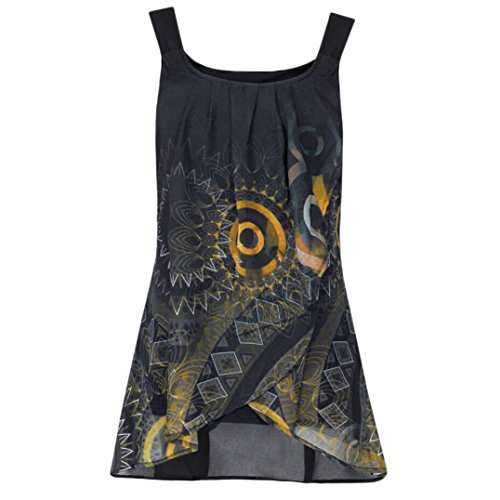 OSYARD Damen Drucken Shirt Ärmelloses O-Neck Weste Tank Tops Bluse Camisole(EU 42/M, Gelb)