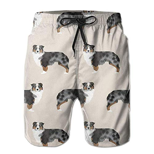 Nacasu Mens Australian Shepherd Swim Trunks Drawstring Elastic Waist Surfing Beach Board Shorts with Mesh Lining XXL - Australian Bootie