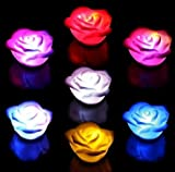 Liroyal 10 Pcs Changing 7 Colors Rose Flower LED Light Night Candle Light Lamp Romantic