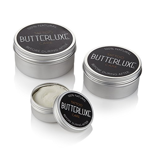 Butterluxe Tattoo Aftercare for Fresh & Old Ink – Healing & Moisturising – 100% Natural – 100% Organic – Made in the UK – Anti-Inflammatory & Anti-Bacterial – Choose Tin Size (250ml)