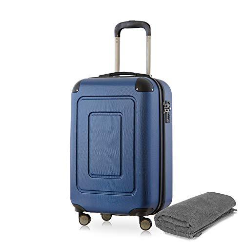 Happy Trolley - Lugano Handgepäck Kabinentrolley Bordgepäck Hartschalen-Koffer Trolley Reisekoffer, sehr leicht, TSA, 55 cm, 40L, Dunkelblau +Badehandtuch