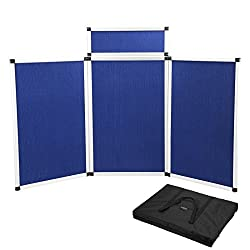Voilamart Exhibition Folding Display Stand 3 Panel Show Board & Header Flannelette Surface Aluminium Frame Kit For Displays, Schools, Conferences & Offices, Blue With Carry Bag