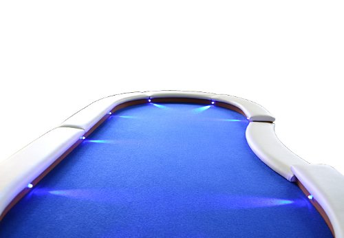 Nexos Pokertisch massiv Casinotisch aus Holz für Poker mit blauem Filzbezug weißen Armlehnen und LED Beleuchtung für 10 Spieler 213 x 105 cm - 4