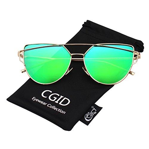 CGID Mode Polarisierte Katzenaugen Sonnenbrille For Damen UV400 reflektierenden Spiegel,Gold Grün