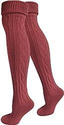 normani 2 Paar Trachtensocken Trachtenstrümpfe Kniebundstrümpfe Extralang Trachten fürs Oktoberfest mit Zopfmuster Farbe Burgund Größe 47-50