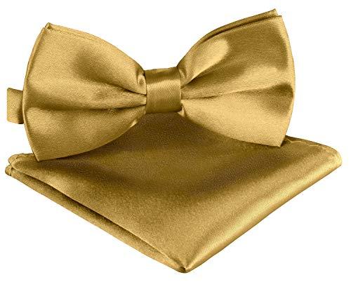 BomGuard Fliege Einstecktuch Set über 30 Farben Fliege Einstecktuch Herrenfliege Fliege mit Einstecktuch Fliege für Herren ..., Luxusgold, Einheitsgröße Gold Bow Tie