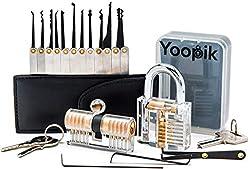 Yoopik umfasst ein 15-teiliges Lockpicking Set/Dietrich Set mit 2 Trainingsschlössern – ein Lockpick-Satz in einem Etui und einer E-Book-Anleitung