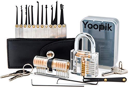 Yoopik Juego de 15 Ganzúas de Cerrajería con 2 Cerraduras Transparente de Capacitación, un Maletín de Transporte y eBook en Espanol