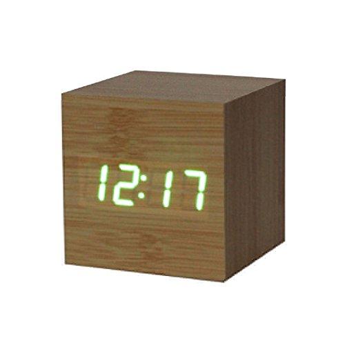 Ularmo Wecker, Wooden Bambus Einfacher Digitalwecker, grüne Ziffern