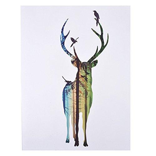Souarts Leinwandbilder Weiß Wald mit Davidshirsch Weihnachten Dekorativ Leinwand Malerei (Aufriss) 40cmx30cm
