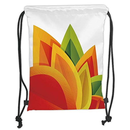 Fashion Printed Drawstring Backpacks Bags,Abstract Decor,Digital Abstract Autumn Leaf Theme Fall Foliage Forest Maple Season Art,Orange Green Soft Satin,5 Liter Capacity,Adjustable String Closure,