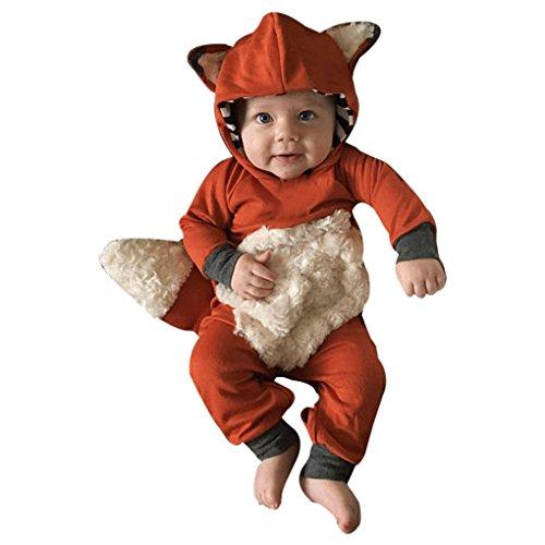 Orangen Anzug Haut Kind Kostüme (Babykleidung ❀❀ JYJMNeugeborenes Baby Mädchen Striped 3D Tier Mit Kapuze Strampler Overall Kleidung (Größe:12 Monate,)