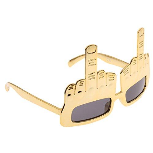 MagiDeal Mittelfinger Sonnenbrille Partybrille Spaßbrille für Erwachsene Hen Party - Gold