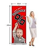 Rollup-Banner Jetzt gibt's Prozente (85 x 200 cm) Bannerdisplay Werbebanner