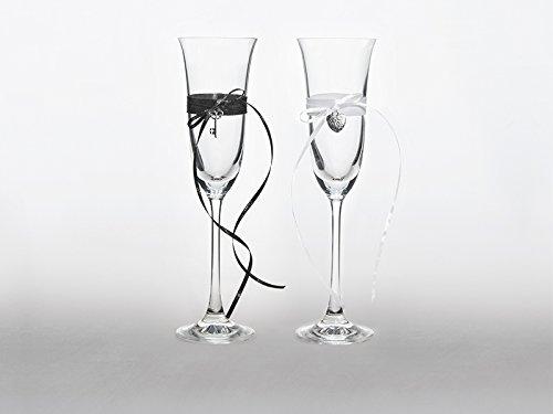 2 Sektgläser Hochzeit KSD25 Herz & Schlüssel schwarz weiß