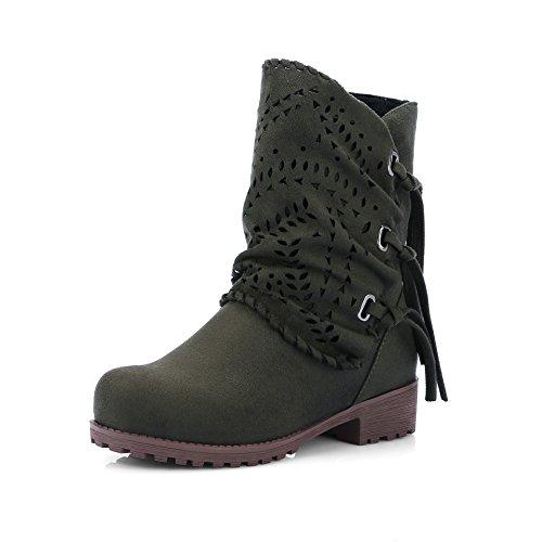 HUA&X Donna Scrub tacco basso medio stivali scarpe Military Green