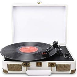 DIGITNOW! Belt-Drive LP Platine Vinyle stéréo, 3 vitesses avec Enceinte Interne, AUX In et prise RCA.
