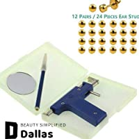 DALLAS Professional Stainless Steel Body Gun Piercing Kit with 12 Pairs/24 Pieces of Piercing Ear Studs (Blue)