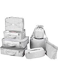 Packing Cubes 8 Sets/7 Colors Latest Design Travel Luggage Organizers Include Waterproof Shoe Storage Bag Convenient Compression Pouches for Traveller