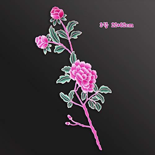OJVVOP Feine Pfingstrose Stickerei Blume Aufkleber High-End-Custom Nationalen Kostüm Dekoration Gestickte Aufkleber Kleidung Tuch Blatt Kein Kleber D (22 * 62 ()