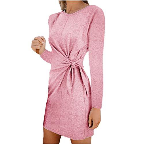 Yazidan Frühling Herbst Minikleid Damen Freizeit Langarm Rundhals Kleid mit Bandage Blusenkleider Mode Slim Kleider Wickelkleider...